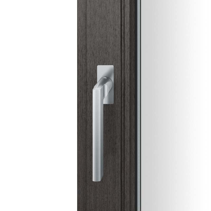 FSB Fenstergriff mit eckige Rosette flächenbündig. Stift 7 mm Stiftüberstand 14-28 mm Edelstahl fein matt (0 34 1035 09036 6204)