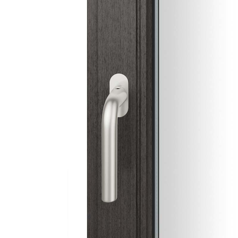 FSB Fenstergriff mit ovalrosette flächenbündig. Stift 7 mm Stiftüberstand 14-28 mm Aluminium naturfarbig (0 34 1075 09034 0105)