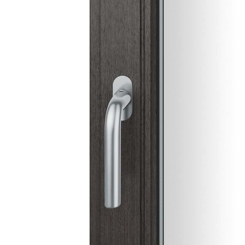 FSB Fenstergriff mit ovalrosette flächenbündig. Stift 7 mm Stiftüberstand 14-28 mm Edelstahl fein matt (0 34 1075 09034 6204)