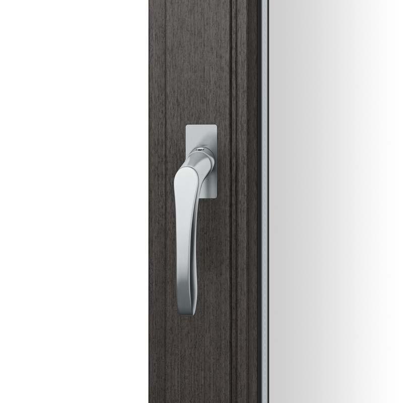 FSB Fenstergriff mit eckige Rosette flächenbündig. Stift 7 mm Stiftüberstand 14-28 mm Edelstahl fein matt (0 34 1106 09036 6204)