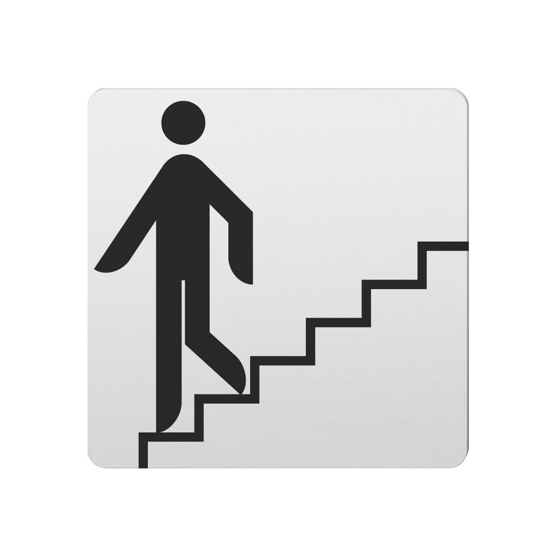 FSB Hinweiszeichen Treppe n.unten Lasergraviert Aluminium naturfarbig (0 36 4059 00013 0105)