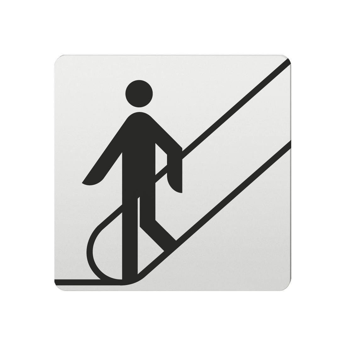 FSB Hinweiszeichen Rolltreppe nach unten Lasergraviert Aluminium naturfarbig (0 36 4059 00015 0105)