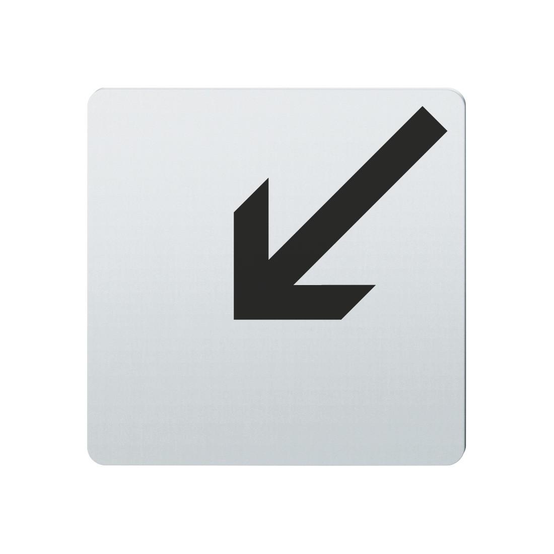 FSB Hinweiszeichen Pfeil nach links unten Lasergraviert Edelstahl fein matt (0 36 4059 00005 6204)