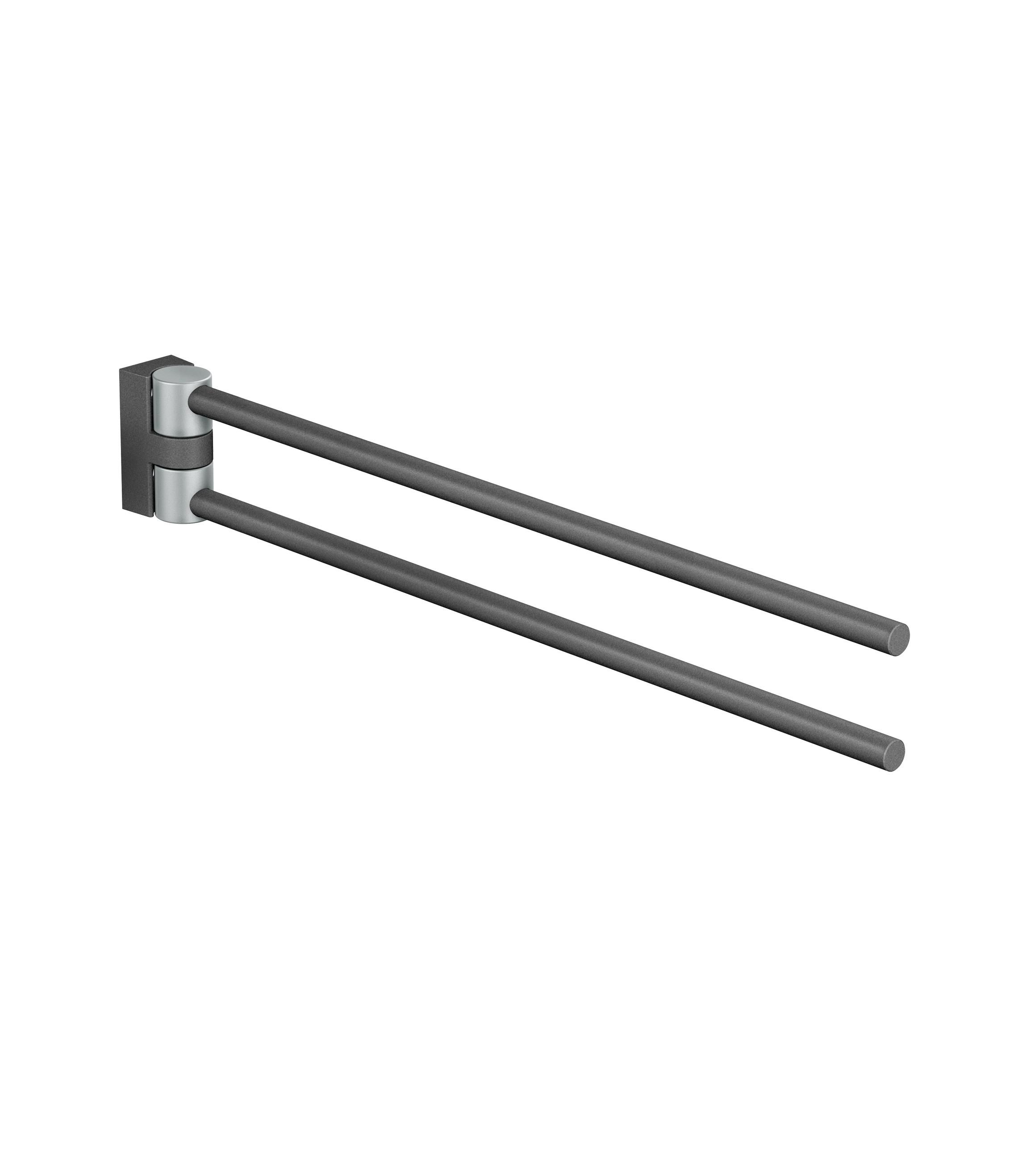 FSB Handtuchhalter zweifach A100 Stützen Aluminiumgrau metallinksc Stange Anemonenweiß (0 82 8460 00002 8223)