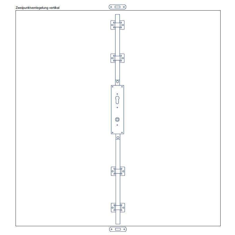 Torfeststeller GTB V2 Tortreibriegel Garagentorverschluss PZ mit Zweipunktverriegelung vertikal Torriegel