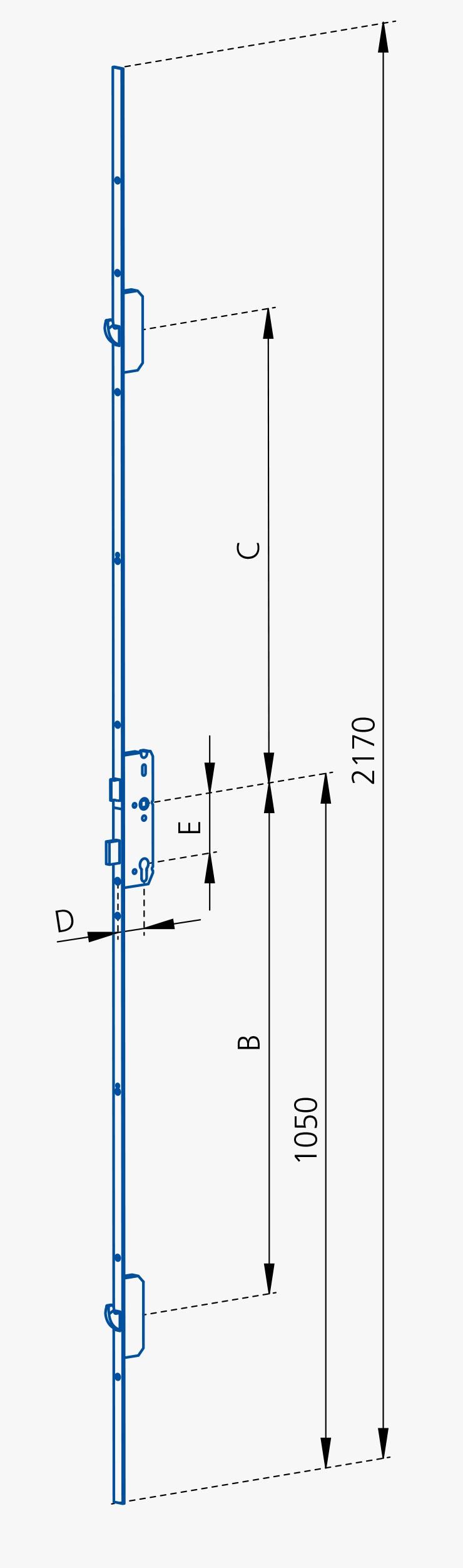 GSG Mehrfachverriegelungen für Hauseingangstueren mit 2 Schwenkriegel-45/92-N10-FL20-Abstand 730/760