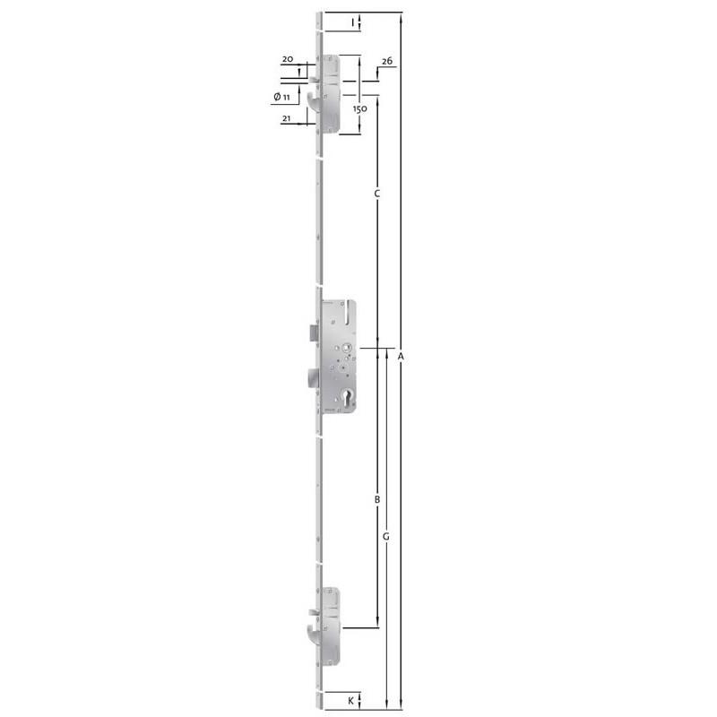KFV - Mehrfachverriegelung - AS 2600  Schwenkhaken - Bolzen - Kombination - 92 - 35 - 8 - F24x2170x3