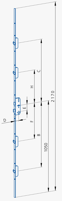 GSG Mehrfachverriegelungen für Hauseingangstueren mit 4 Schwenkriegel-65/92-N10-FL20-Abstand 720/770 und 380/430