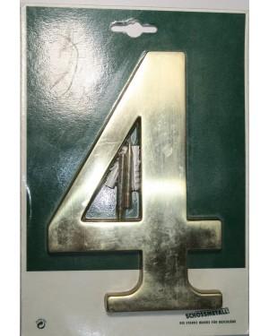 Schössmetall Hausnummer 4 aus massivem Messing poliert 180 mm, 118,6 mm