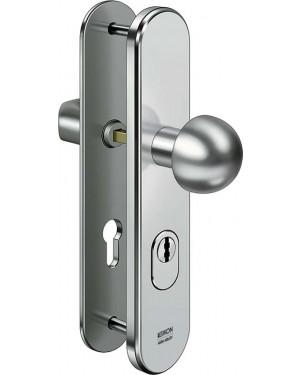 IKON Assa Abloy Stahl-Schutzbeschlag mit Zylinderabdeckung - Rundknauf/Drücker Stahl Türbeschlag (S406,FB=Silberfarben (F1),TS=45)