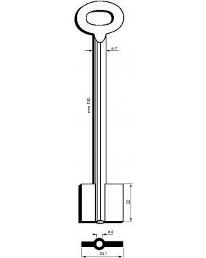 Doppelbartschlüssel Kaba Mauer Art: 8919, 130 mm, 7 mm, 4 mm, 22 mm
