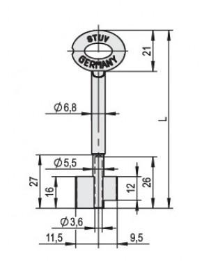 Doppebarttresorschlüssel STUV 49511290 - 105 mm