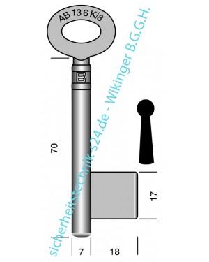 Chubb- Kastenschloss- Schlüssel- Rohling Art. 136 K/8 (6 136 K08 070)