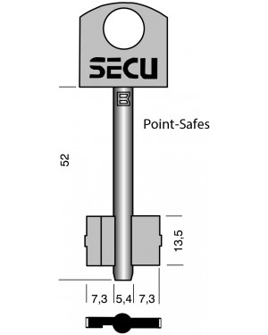 SECU Point- Safes Doppebart- Schlüssel