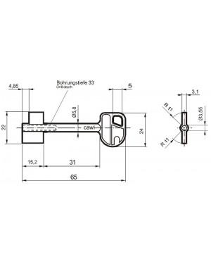 Doppelbartschlüssel Carl Wittkopp 8231 CAWI 65 mm