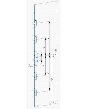 GSG Mehrfachverriegelungen für Hauseingangstueren mit 4 Schwenkriegel-55/72-N8-FL20-Abstand 720/750 und 380/410