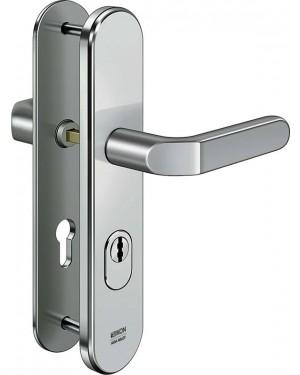 IKON Assa Abloy Stahl-Schutzbeschlag mit Zylinderabdeckung - Drücker/Drücker Stahl Türbeschlag (S403,FB=Silberfarben (F1),TS=45)